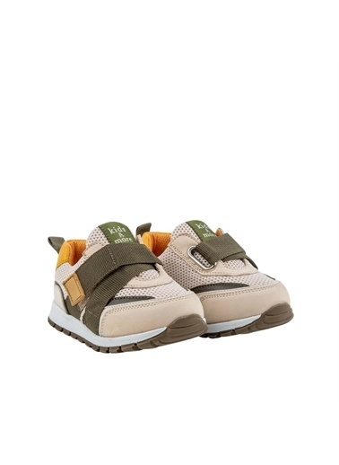 Kids A More Jasper Tek Cırtlı Lastikli Deri Ve Air File Detaylı Erkek Çocuk Sneaker Bej Bej